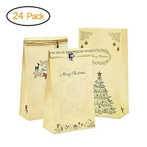 omitium Weihnachten Geschenktüten , 24 Stück Geschenktaschen, Wiederverwendbare Braunem Kraftpapier mit Verschiedenen Designs Weihnachtstüten für Brot Süßigkeiten, Geschenktaschen Papier zum Verzieren