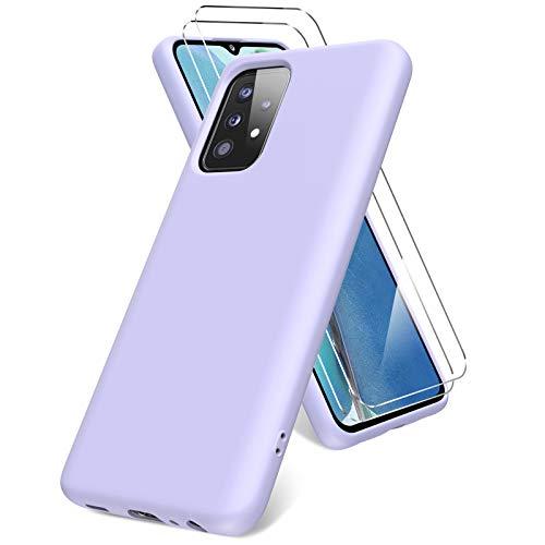 Vansdon Hülle kompatibel mit Samsung Galaxy A52 5G, 2 Panzerglas Displayschutzfolie, weiche TPU Flüssigsilikonhülle, stoßfestem Gummi Silikongel Fall-lila