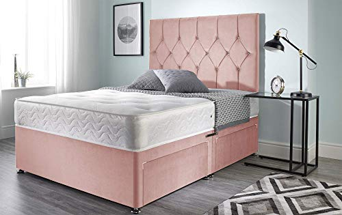 Bed Centre Ziggy Pink Plush Memory Foam Divan Bed With Mattress, Headboard and No Drawers (Double (135cm X 190cm))