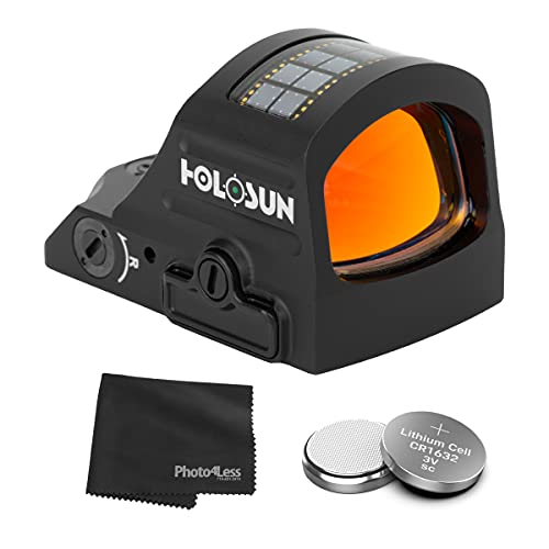 HOLOSUN HE507C-GR-X2 Elite Multi Reticle Green Dot Sight + 2 Additional CR1632 Batteries and Lens Cleaning Cloth