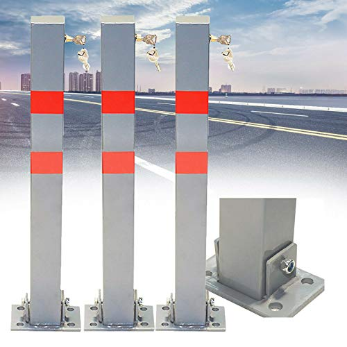 Parkpfosten Parkplatzsperre - 3PCS Stahl Klappbarer Absperrpfosten Parkplatzsperre Klappbare Absperrpfosten Parkplatz-Barriere mit Schlüssel