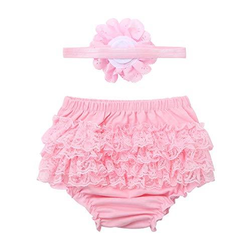 iiniim Neugeborenes Baby Mädchen Shorts Rüschen Höschen Bloomers Hose Geburtstag Fotoshooting Kostüm Trainerhosen mit Stirnband Rosa 68-74
