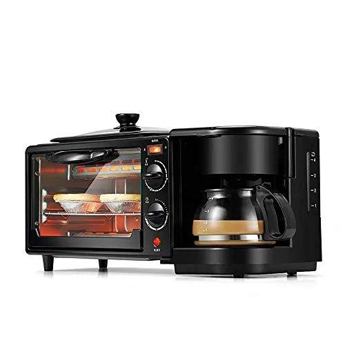 FSFF Sartén, Mini Horno eléctrico con Placa calefactora Varias máquinas de Desayuno 3 en 1, cafetera, Tortilla, Funciones de cocción, Parrilla, Temporizador de Control de Temperatura Ajustable, 9