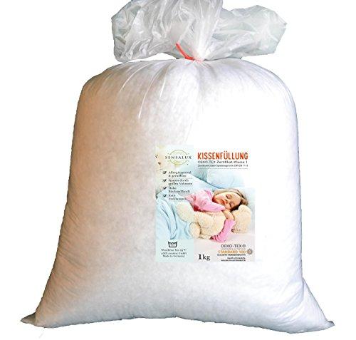 AMF Sensalux Füllstoff waschbar bis 95 Grad Kissenfüllung, Oeko-TEX Polyesterhohlfaserkugeln, Weiß, 1 kg