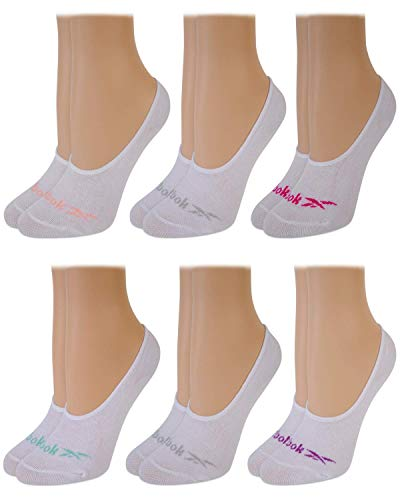 Reebok Women's 6 Pack No Show Liner Socks with Non-Slip Grip (Shoe Size: 4-10, Solid White)