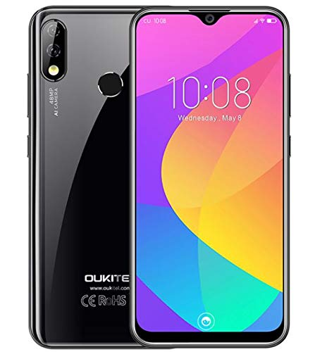 OUKITEL Y4800 (2019) mobiele telefoon zonder contract, 48 MP + 5 MP + 16 MP AI-camera, Android 9.0 4G smartphone, 6,3-inch waterdruppel-FHD + scherm, Helio P70 Octa Core 6 GB RAM + 128 GB ROM, 4000 mAh batterij
