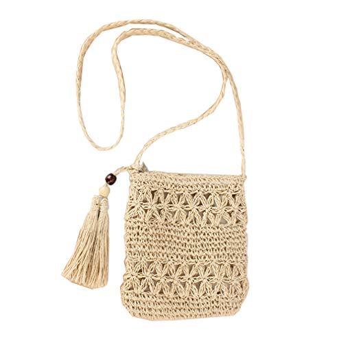 FAIRYSAN Piccola borsa quadrata di paglia all'uncinetto Borsa a tracolla con tracolla in nappa di pizzo beige