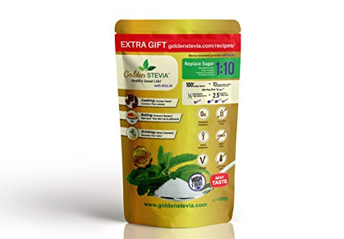 Golden Stevia Pulver Süßstoff mit Inulin 100 g = 1 kg Zuckerersatz 1:10 Chicoree-Wurzel ballaststoffe, kohlenhydratarm für keto diät, diabetiker zucker, weight watchers produkte