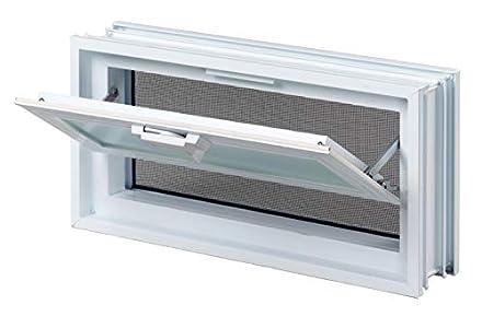 Ventana practicable: para el montaje en la pared de bloques de vidrio - 579x189mm, en lugar de 3 bloques de cristal 19x19x8 cm, horizontal