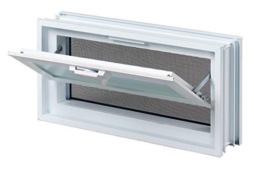 Ventana practicable: para el montaje en la pared de bloques de vidrio - 384x189mm, en lugar de 2 bloques de cristal 19x19x8 cm horizontal