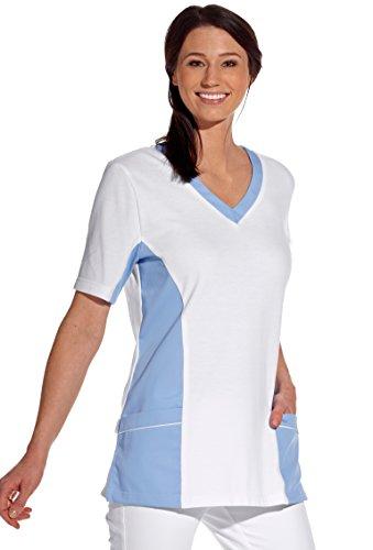clinicfashion 12614042 Schlupfhemd weiß/hellblau für Damen, Mischgewebe, Größe S