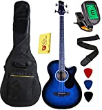YMC 4 Strings Cutaway Acoustic-Electric Bass Guitar With 4-Band Equalizer, Adjustable Truss Rod,Gig Bag,Strap,Picks-Blue