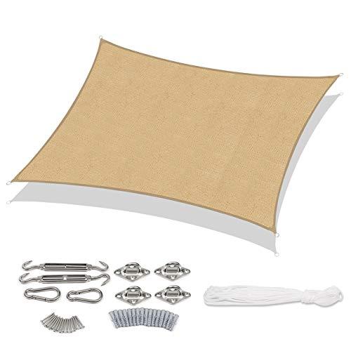Sekey Toldo Vela de Sombra Rectangular HDPE Protección Rayos UV Resistente Permeable Transpirable para Patio, Exteriores, Jardín, 3× 4m Arena, con Cuerda Libre y Kit de Montaje