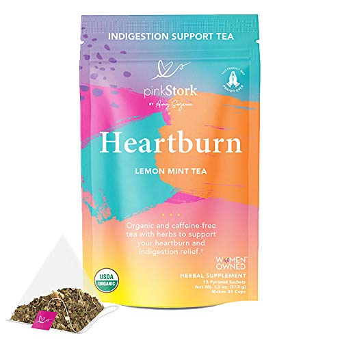 Pink Stork Heartburn Tea: Lemon Mint, 100% Organic, Heartburn Pregnancy Relief + Reduce Indigestion + Acid Reflux, Women-Owned, 30 Cups, Packaging May Vary