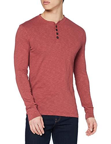 Superdry Legacy LS Henley Camisa, Denim Oscuro Rust, XL para Hombre