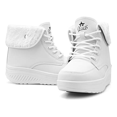 [WYSBAOSHU] [Amazon限定ブランド]レディース スノーブーツ 裏ボア 防寒靴 滑り止め 厚底 雪用 保暖 ショート ブーツ 冬用 通学 通勤 防寒 コンフォートシューズ 雪用ブーツ 冬靴 白 ホワイト whtie 25.0 cm