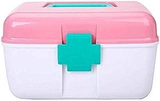 AINIYF Household Medicine Box Plastic Two-Layer Medical Box Small Portable Emergency Medicine Storage Box Medicine Box (Color : Pink, Size : 25x18x14.5cm)