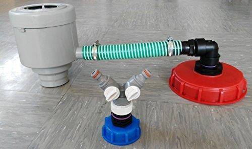 TOP_CMGG21DK150 + 1 x CM135Y Filtre anti-chute avec tuyau, capuchon à visser 150 mm Distributeur en Y compatible avec Gardena avec capuchon à vis S60x6 IBC Accessoire pour réservoir d'eau de pluie