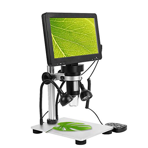 7' LCD Digital Microscope with 32GB SD Card Handheld USB Microscope Magnifier, 1200X Magnification, 1080P Video Microscope with Met-al Stand, 8 Adjustable LED Lights, PC View,Shipping from US
