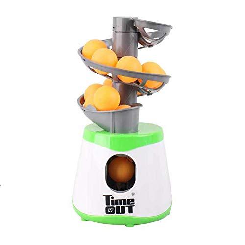 AmandaJ Tischtennis Ball Maschine, Ping Pong Ball Automatisch Werfer Tischtennis Ball Pitching Maschinen mit 10 Bälle Sports Turnschuhe Zubehör - Grün und Weiß