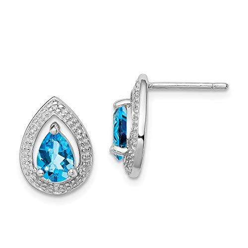 925 Sterling Silver Polished Rhodium Plated Diamond and Lt Swiss Bt Post Earrings Measures 13x10mm Wide Jewelry Gifts for Women