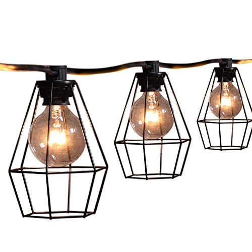 Brightown 20Feet Outdoor Patio String Lights with 12 Clear G40 Bulbs and 12 Vintage Metal Lamp Shades, Indoor Outdoor Hanging Lights for Cafe Backyard Garden Porches Deck Market Garden Decor, Black