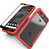 Google Pixel 3a Case with Screen Protector(2 Pack) Flexible Soft Clear Silicon TPU Back Slim fit Anti-Slip Anti-Scratch Shockproof Bumper Cover (Red)