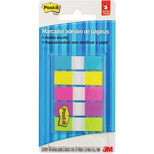 Marcador de Página Adesivo Post-it - 5 Cores Neon, 11.9 x 43.2 mm - 100 folhas
