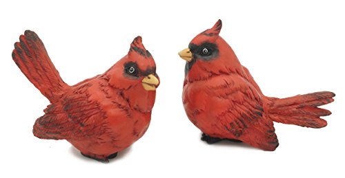 FICITI G105394 Cardinal Figurine Birds Decoration - Set of 2 - 4 Inches High