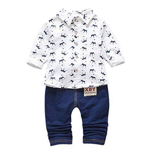 Lsmaa Peuter Kids Jongens Cartoon Kleding Set, Lange mouwen Crown Patroon Shirt Tops+ Denim Broek Outfits, Zeer Cool, Casual en Leuke