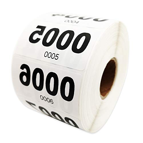 Reverse Number Stickers for Live Sales - 1000 Pcs Mirrored Consecutive Numbers (0001-1000) for Live Sales Items Labeling with Small Forward Numbers for Easy Identification by Seller