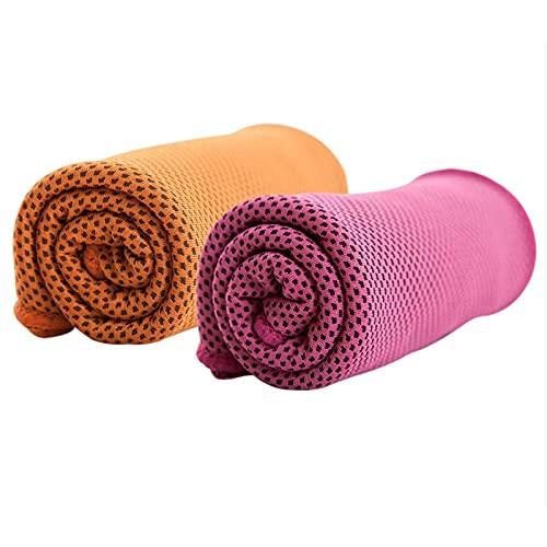 Toalla de enfriamiento para el cuello Instant Heat Relief Cool Sports Entrenamiento Fitness Gym Yoga Rosa Rojo Naranja Rojo 2 Unids