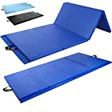 Day 1 Fitness Folding Gymnastics Gym Mat – 4'x8' Royal Blue - High-Density Foam, Exercise, Yoga, Gymnastics, Crossfit, Aerobics, Tumbling Mats - Eco-Friendly Foldable Pads