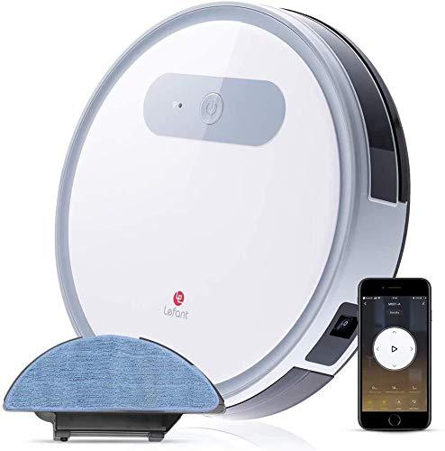 LEFANT Robot Aspirador y Fregasuelos, Robot Aspiradora M501-A Succión Fuerte 2000Pa con Sensores Anticaída, Programable App, Autocarga, Aspira, Barre, Friega y Pasa la Mopa, Alexa y Google Home
