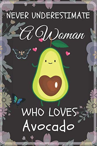 NEVER UNDERESTIMATE A Woman Who Loves Avocado Notebook: Wide Ruled Notebook Gift For Avocado Lovers - Perfect Notebook Gift for Woman, Girls, Her, ... x 9 Inches - 110 Pages - Avocado Lovers Diary