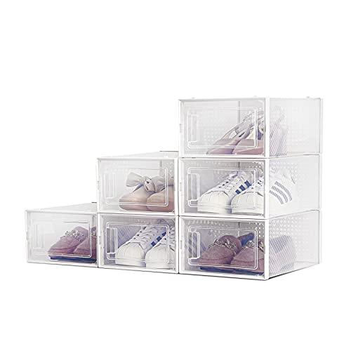 Cajas de Zapatos, Paquete de 6 Cajas de Almacenamiento de Zapatos Transparentes, Cajas para Zapatos de Plástico Plegable, 33×23×14 cm por Casillero, para Zapatos, Tacones Altos, Zapatillas de Deporte