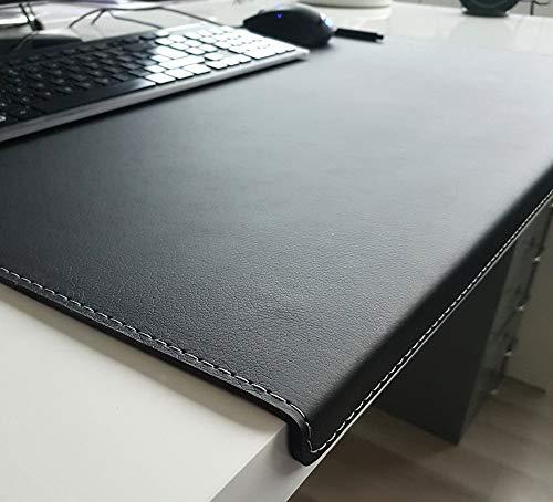 Hoekige bureauonderlegger met randbescherming Softlux leer 70x47 zwart grijze naad