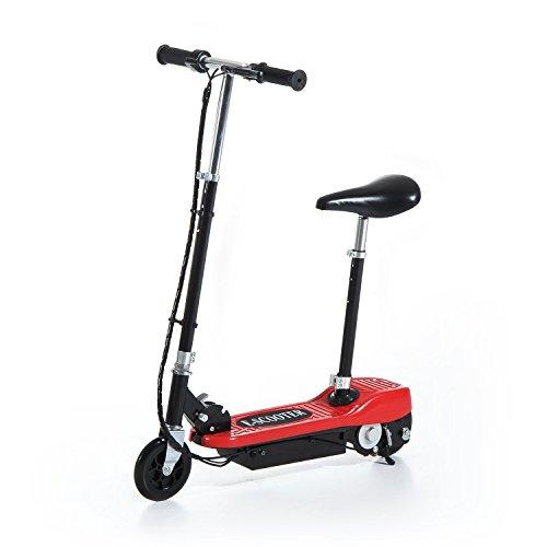 HOMCOM Patinete Eléctrico Plegable para Niño E-Scooter Batería 120W Manillar Asiento Ajustable Freno Pie de Apoyo para Adolescentes Rojo