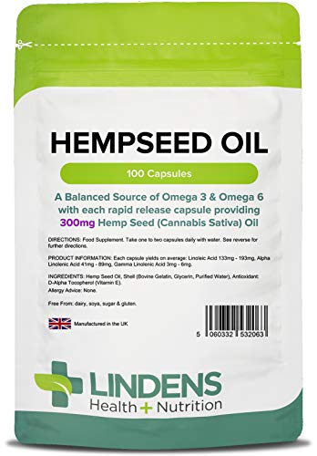 Lindens Hanfsamenöl 300mg Kapseln | 100 Verpackung | Hochdosierte Kapseln, die die Wirkstoffe schnell freisetzen. Liefern eine ausgewogene Menge an Omega 3 und 6