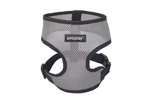 amiplay Harnais de sécurité 'Scout Air'   harnais souple pour chien   Harnais   Réglable   Perméable à l'air, Couleur:Gris, Taille:S   max 28 [c] x 33-48 [d] cm