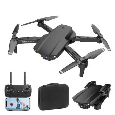 E99 Pro 2 Mini Folding Drone with 4k 50x Zoom HD Dual Camera, Intelligent Control, One-Key Take-Off/Landing and Return, Altitude Hold, Gesture Shooting, 1 Batteries and Carrying Case (Black)