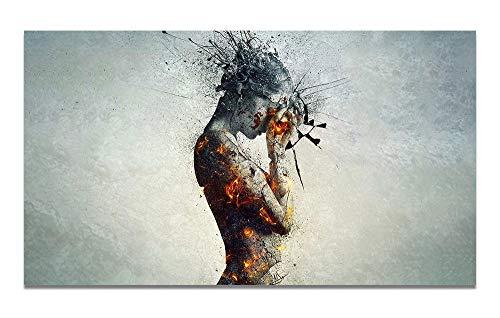 Liangzheng Explosión Corporal Dolor de Cabeza Fuego Imagen de Arte de Pared Pintura de Lienzo Carteles Imprimir Decoración de Imagen de Pared para Sala de Estar 60x90cmx1 sin Marco