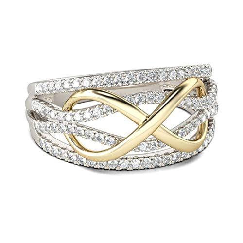wuligeya Art JKWL Ringe der Frauen, Hochzeitsringe, Verlobungsringe, Art- und Weisefrauen Gold überzogene Ringe Zwei-Farbenhochzeitsringe