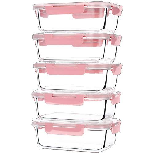 CREST Glas Frischhaltedosen 5-er Set 1040ml, Meal Prep Boxen mit Deckel, Glasbehälter, BPA-frei,Spülmaschinen- Mikrowellen- und Gefrierschrankgeeignet, Pink