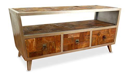 livasia Großes Java Sideboard aus Metall und Teakholz | TV-Bank im Industrial Design | Asiatische Möbel der Marke Asia Wohnstudio | Asia TV-Bank | Teakholz Sideboard (Handarbeit)
