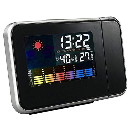 Salandens Reloj de proyección Digital LED Reloj Proyector Reloj Despertador con Dual Alarma Temperatura Higrómetro Función Snooze Puerto USB Atenuante 12/24 Horas (Negro)