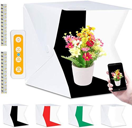 Fotobox, Fotozelt Lichtzelt 40x40 cm mit 3 Lichtfarben 140 LED Mini Mobiles tragbare Tischplatte Faltbare Fotografie Leuchtkasten, Lichtwürfel Fotostudio mit 4 Hintergrund (Weiß/Schwarz/Rot/Grün)