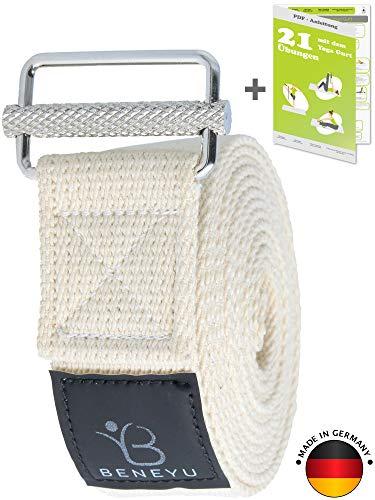 beneyu ® Innovativer Yoga Gurt - rutschfeste Metall-Schnalle - 100% Baumwolle - Made in Germany +Übungen