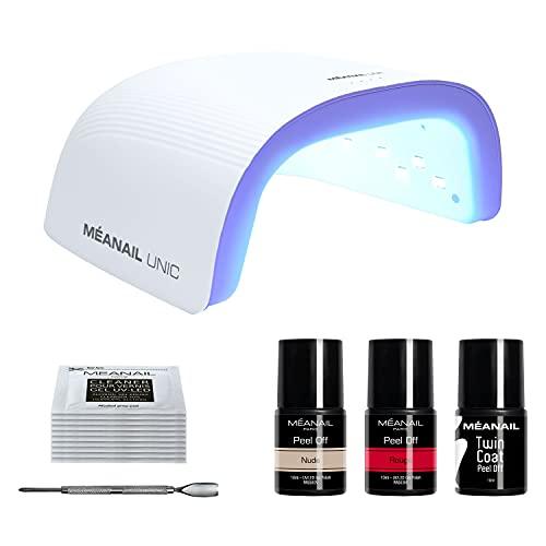 Kit de Manicura para Uñas de Gel Semipermamentes•Lámpara LED UV 48W•2 Esmaltes Peel Off• 1 Twin Coat•No Necesita Remover•Color NUDE y ROJO•Vegan & Cruelty Free•Méanail Paris