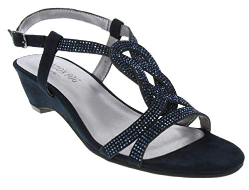 London Fog Womens Macey Demi-Wedge Dress Sandals Navy 7 M US